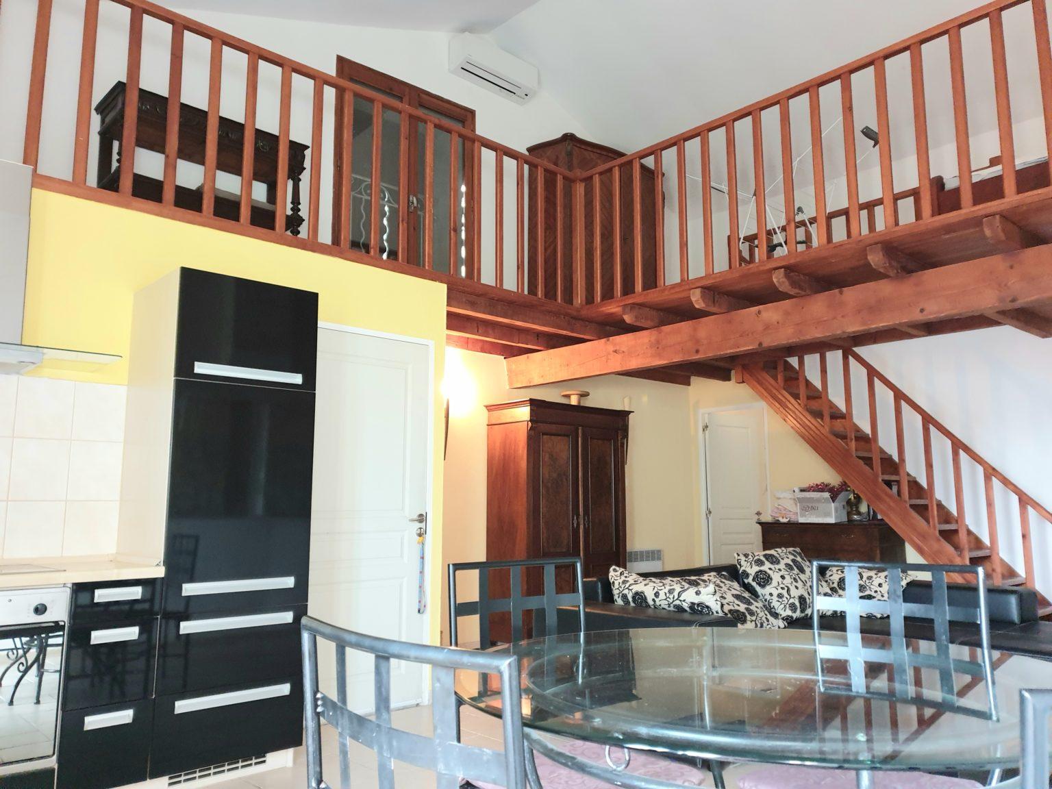 escalier bois mezzanine